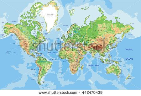 Highly detailed physical world map with labeling vector canvas or poster africa terrain surface highly detailed physical world map with labeling easy installation 365 days money back guarantee gumiabroncs Image collections