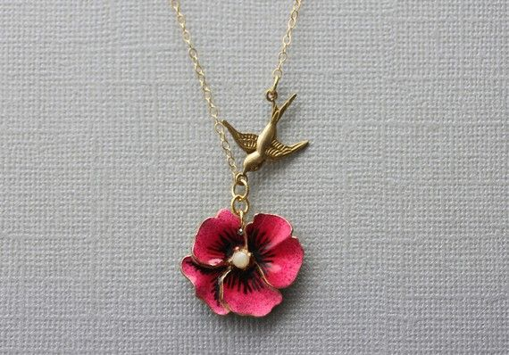 Pansy Necklace Pink Flower Necklace Pansy Jewelry by madebymoe