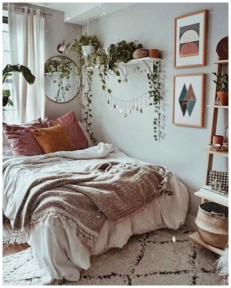 50 Sleigh Bed Inspirations For A Cozy Modern Bedroom: 50+ Cozy Bohemian Bedroom Ideas For Your First Apartment