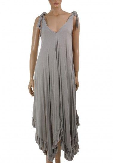Ασσύμετρο μακρύ φόρεμα με βολάν στο τελείωμα | ΦΟΡΕΜΑΤΑ/TOYNIK :: ZicZac