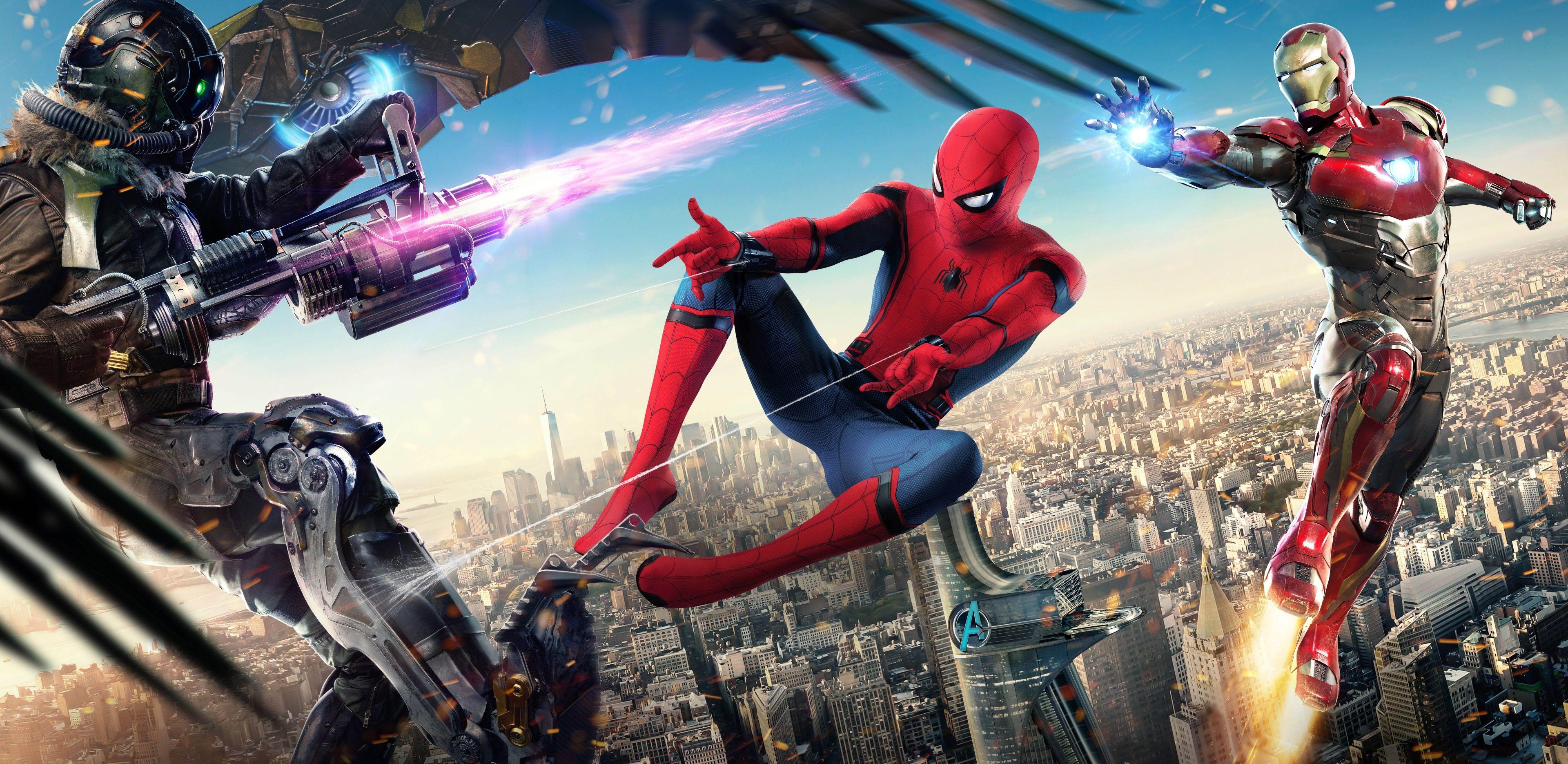 3840x1870 Spider Man Homecoming 4k Wallpaper Hd Backgrounds Images Iron Man Wallpaper Spiderman Iron Man Poster