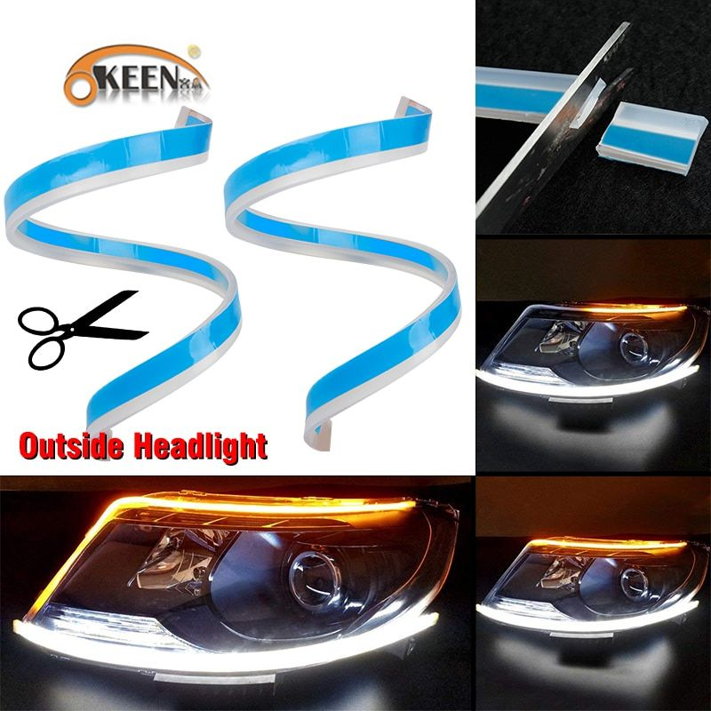 Okeen 2pcs 60cm Flexible Led Drl For Headlight Strip Daytime Running Light With Yellow Sequential Turn Signal Lamp 12v Runolf Running Lights Led Strip Lighting Car Lights