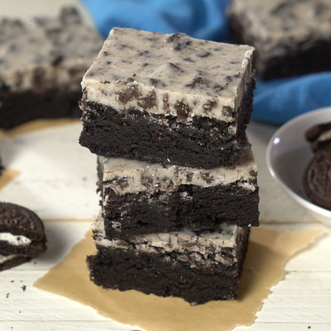 Fudgy Cookies and Cream Brownies