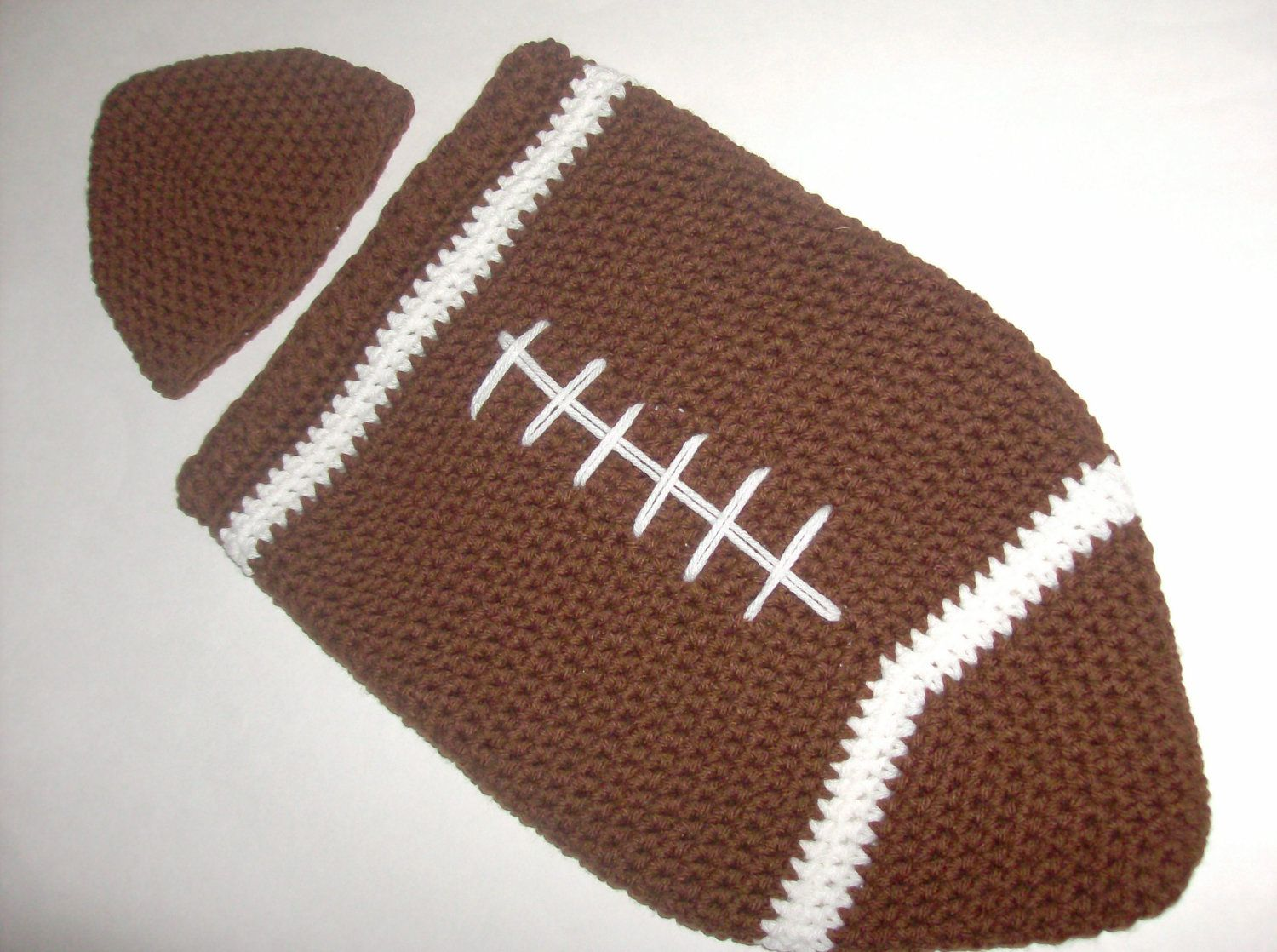 Cottage snuggle sack and hat crochet baby baby cocoon and sacks - Items Similar To Crochet Football Cocoon And Hat For Newborn On Etsy