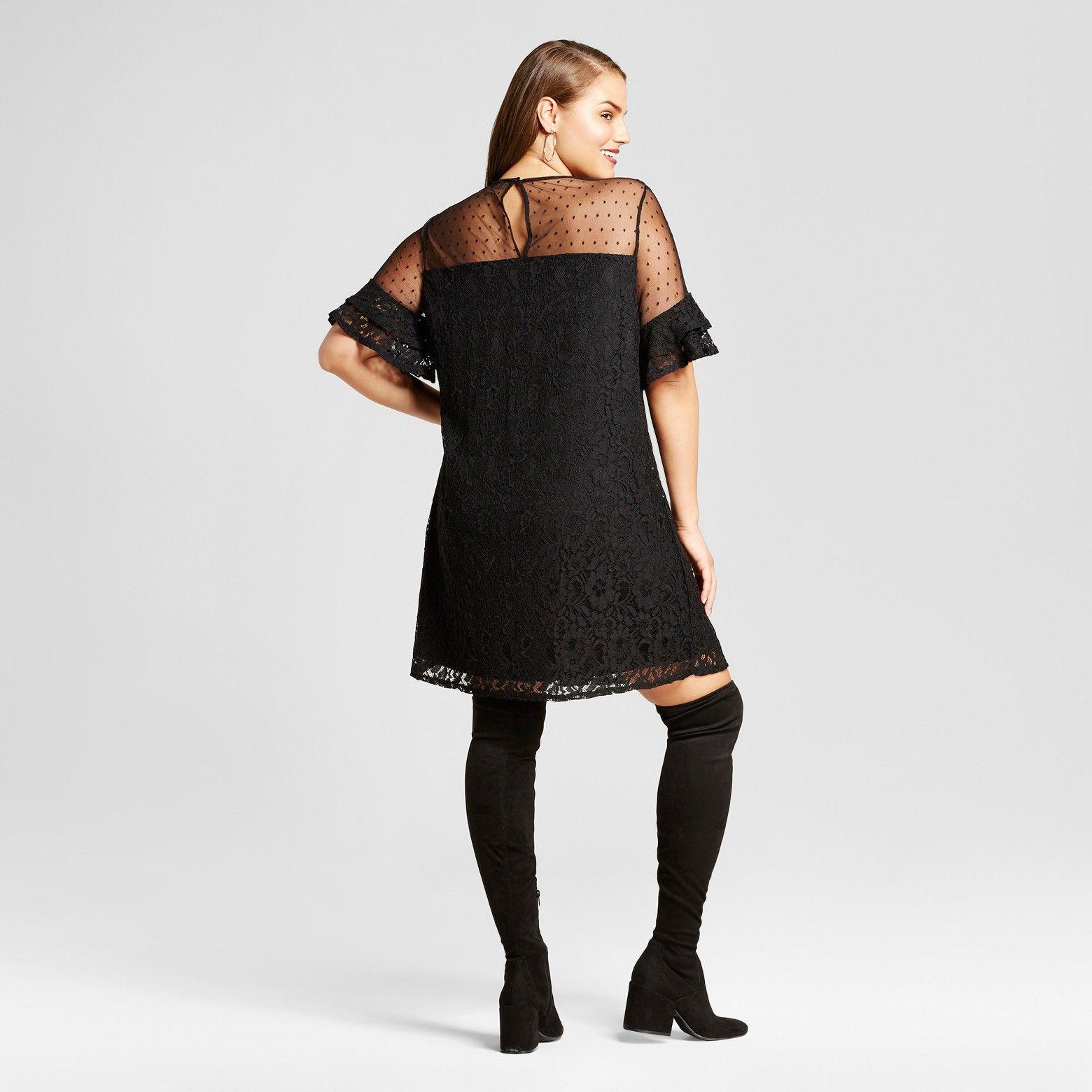 Womens Plus Size Lace Yoke A Line Dress 3hearts Juniors Black
