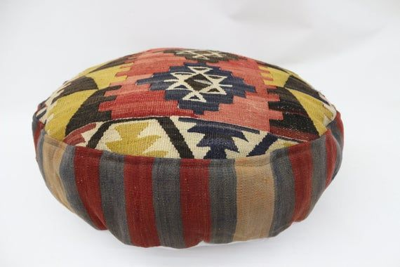 Geometric Kilim Pouf,Camping Puff,24x24x6 Pear Seat,Red Pouf,Circle Pouf,Floor Pillow Cover,Garden P