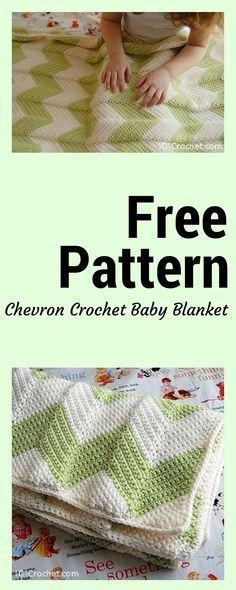 Free Chevron Crochet Baby Blanket Pattern | Häkelmuster und Babys