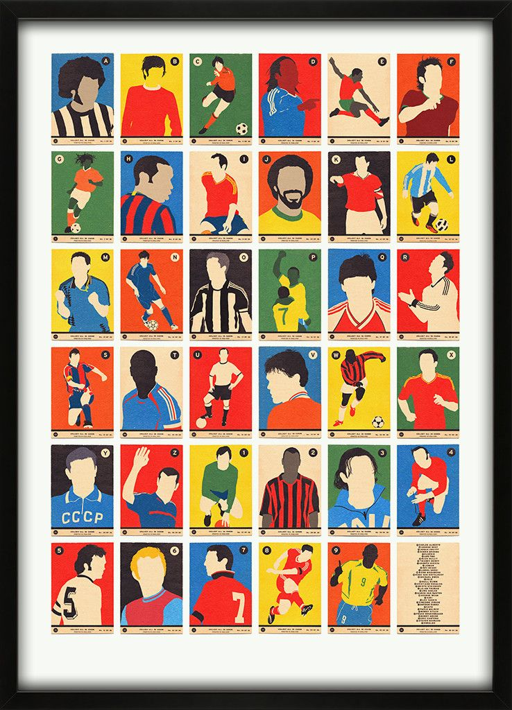 Football Legends A To Z By Simon Staines Ibwm Alphabet Art Football Artwork Alphabet Print