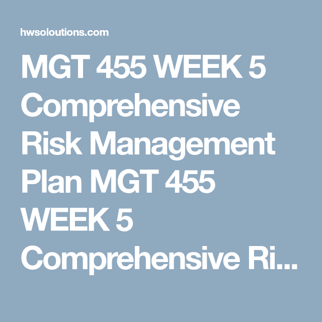 Mgt  Week  Comprehensive Risk Management Plan Mgt  Week