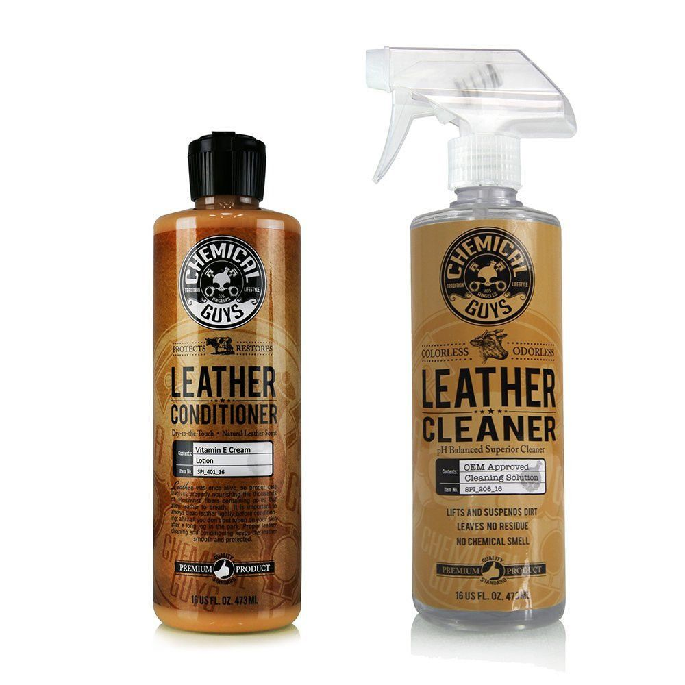 Leather Cleaner And Conditioner Complete Leather Care Kit 16 Oz 2 Items Chemicalguys Chemical Guys Leather Conditioner Leather Cleaning