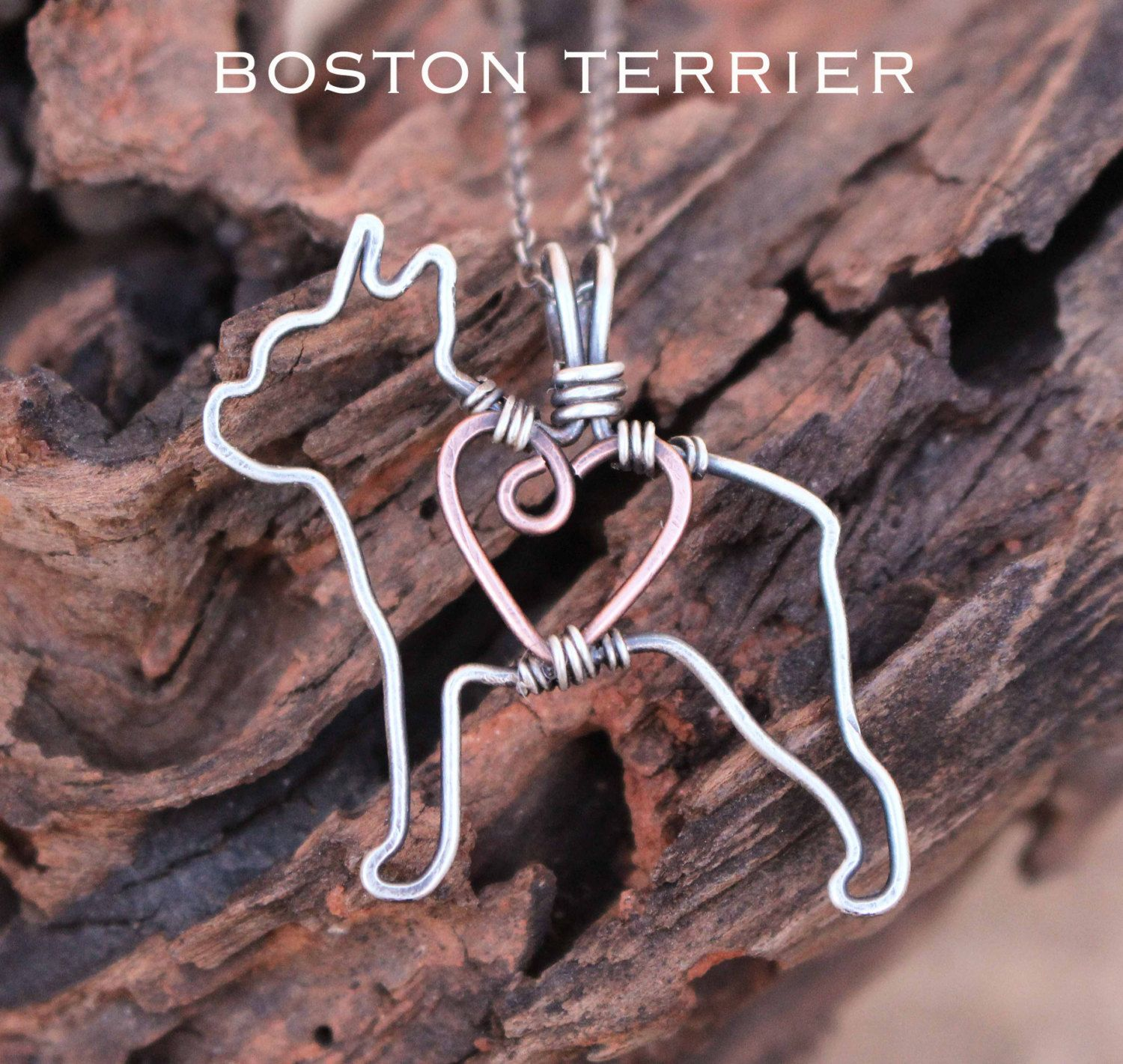 Boston Terrier Dog Necklace, Custom Dog Necklace, Sterling Silver ...