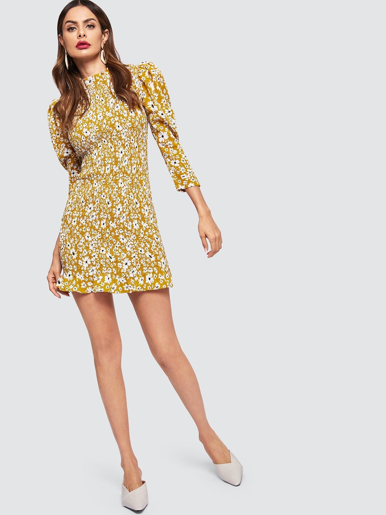 940307ea91 Casual Sheath Stand Collar Long Sleeve Natural Ginger Short Length Frilled  Neckline Puff Sleeve Shirred Floral Dress