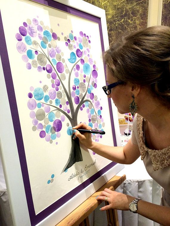 Real Wedding Tree Guest Book Original Painting Wedding Guest Etsy Guest Book Tree Wedding Tree Guest Book Wedding Guest Book Sign