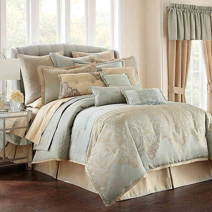 Photo of Waterford® Linens Aramis Comforter Set in Aqua/Gold | Bed Bath & Beyond