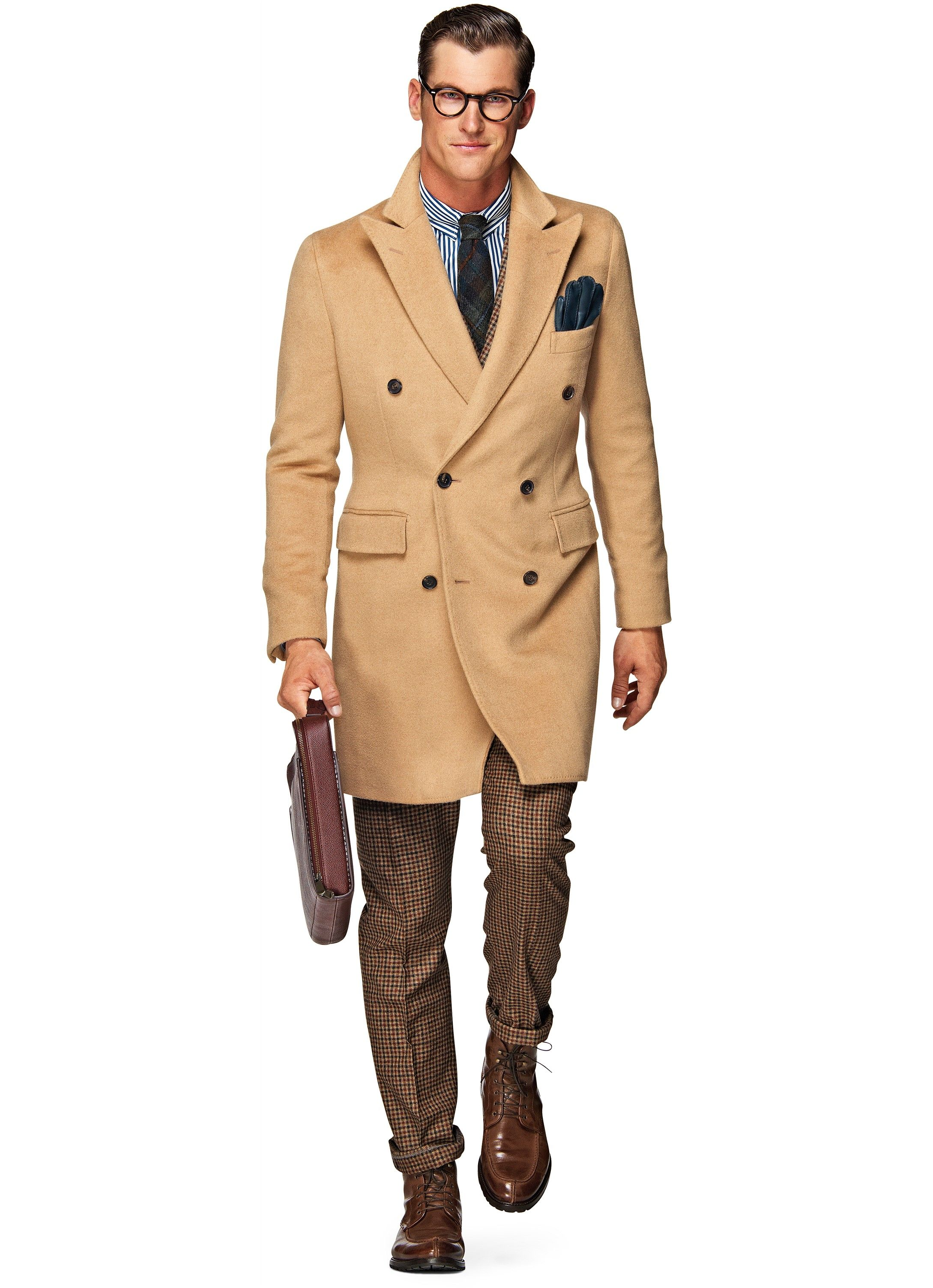 Light Brown Double Breasted Camel Hair Coat J290i