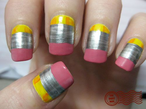 Pencil nails for the first day of school nails nails nails pencil nail art nails art kids hands creative polish crafty back to school teachers prinsesfo Gallery