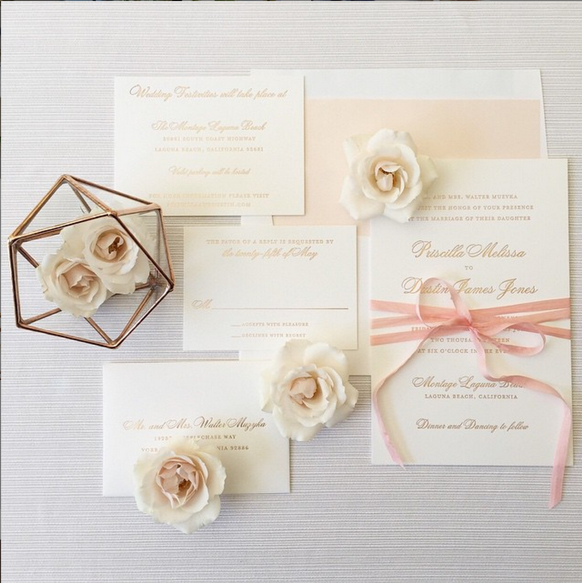 Rose Gold foil invitations, wedding, oc wedding planner, blush roses ...