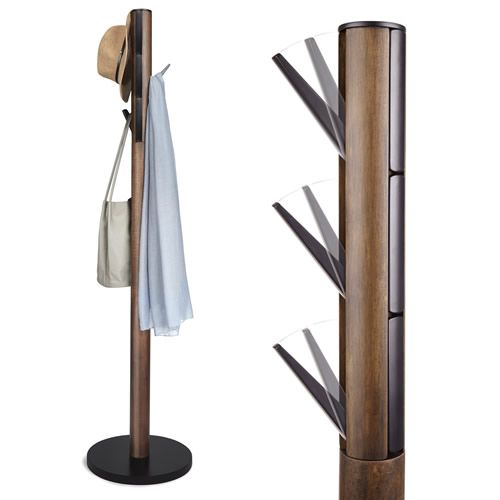stylish modern wooden umbra flapper coat stand for front entry