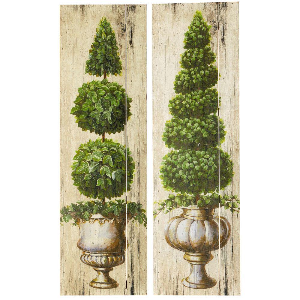 2 tableaux en bois verts 36 x 120 cm buis maisons du monde images pinterest buis. Black Bedroom Furniture Sets. Home Design Ideas