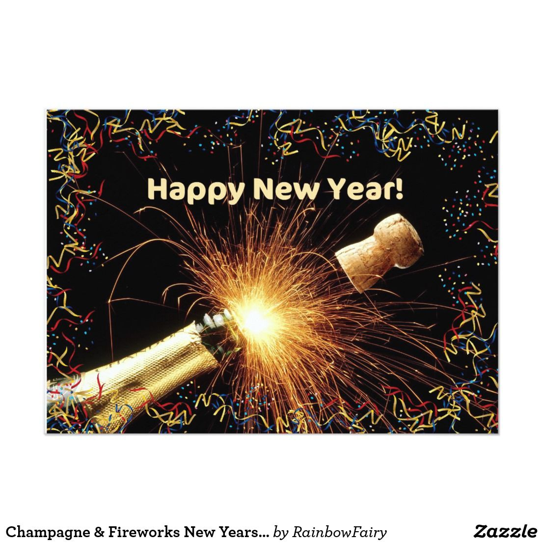 Champagne & Fireworks New Years Party Invitation | It\'s party time ...