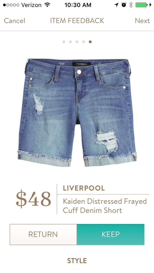 11th fix! Liverpool Kaiden Distressed Frayed Cuff Denim Short. I have not worn shorts in like 5 years!! I love these. So comfy and will be perfect for island hopping. KEPT.