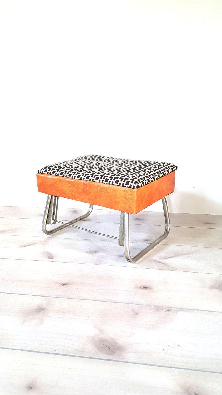 Leg Lounger Adjustable Footstool / Pearl Wick / Ottoman / Vintage Foot Rest  ~ Mid Century Foot Stool / Retro Storage Sewing Box