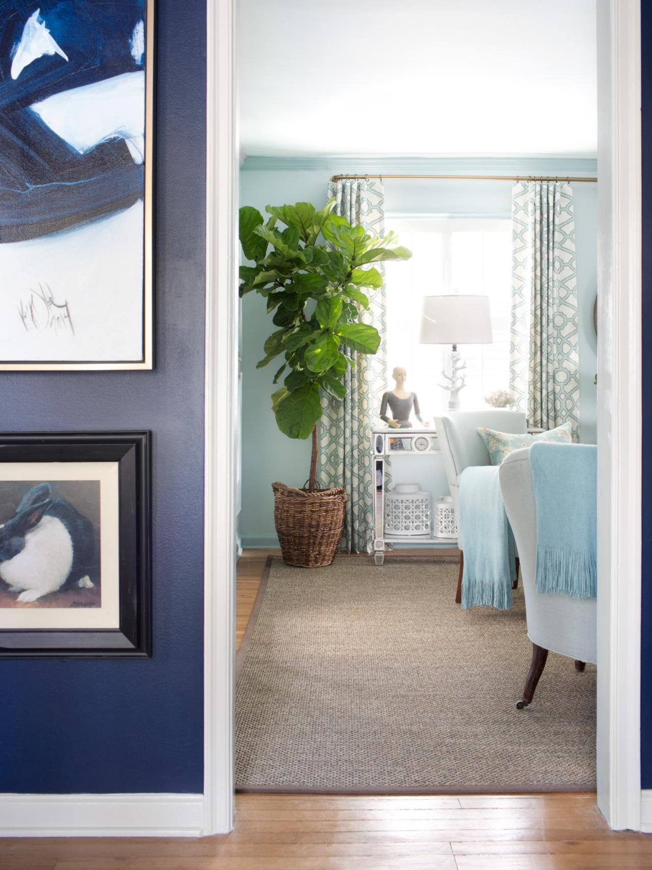 Small Blue Living Room Designs: Neighboring Spaces. Take Into Consideration The Hues Of
