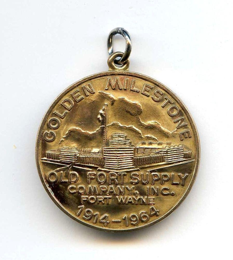 Vintage Old Fort Supply Medal Award Fob Fort Wayne 1914