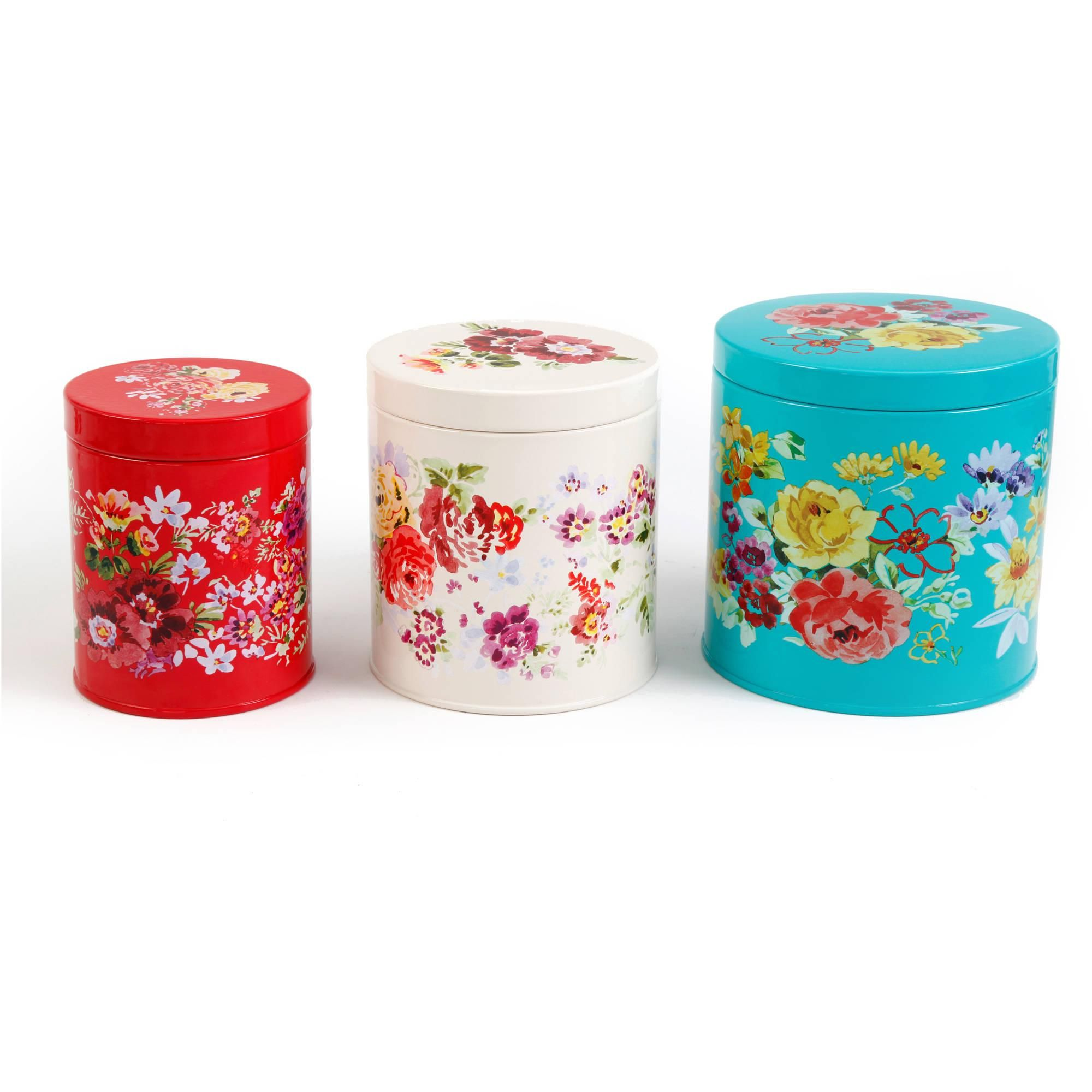 the pioneer woman garden meadow 3 piece tin canister set walmart