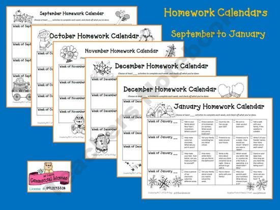 Early Childhood Homework Calendars Sept To Jan (Teachers Notebook