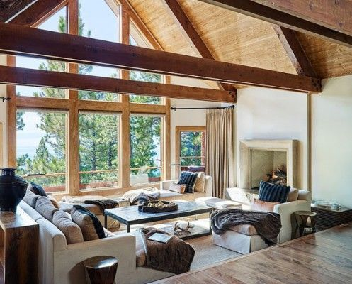 Modern Rustic Mountain Retreat Showcases Sweeping Views Of Lake Tahoe Colorado Mountain Homes Beautiful Living Rooms Modern Rustic