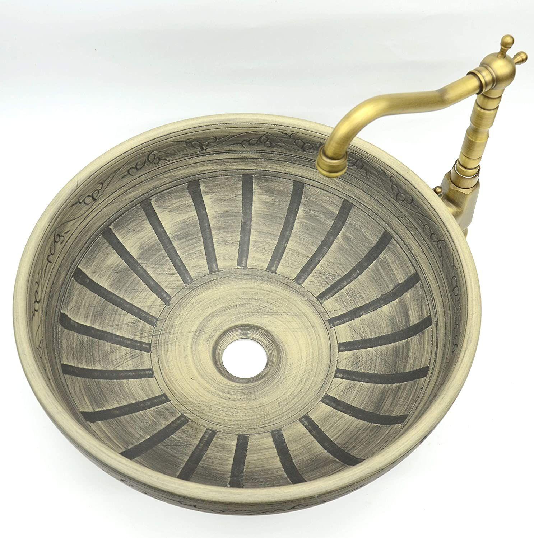 Waschbecken Vintage Stil Gemustert Handgefertigt Rund Keramik Kasbah Waschbecken Waschschussel Amazon De Baumar Vintage Stil Waschbecken Handgefertigt