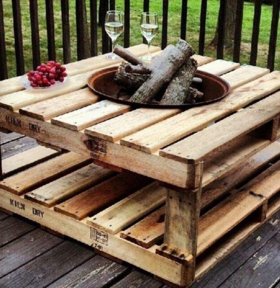 Superior Pallet Fire Pit Table Add Dark Stain, Casters, Or Propane And Glass Rocks.