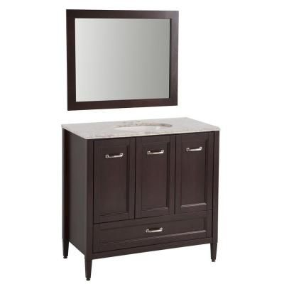 Home Decorators Collection Claxby 36 In Vanity In Chocolate With Stone Effects Vanity Top In Winter Mist And Wall Mirror