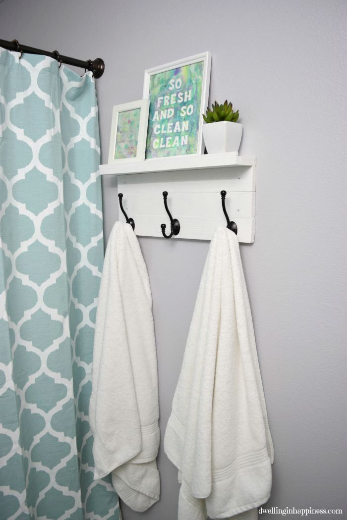 Diy Towel Rack With A Shelf Affordable Apartment Decor Home Diy First Apartment Decorating