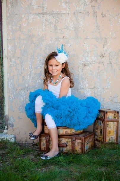 Girls Pettiskirt in Deep Turquoise Blue