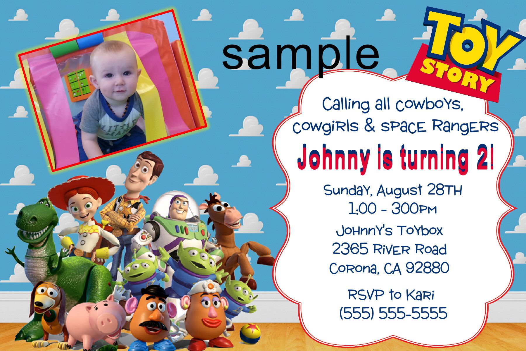 Toy Story Birthday Invitation, Click on the image twice to place ...