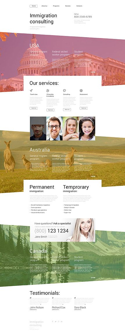 Template 55439 - Immigration Consulting Responsive Website Template ...