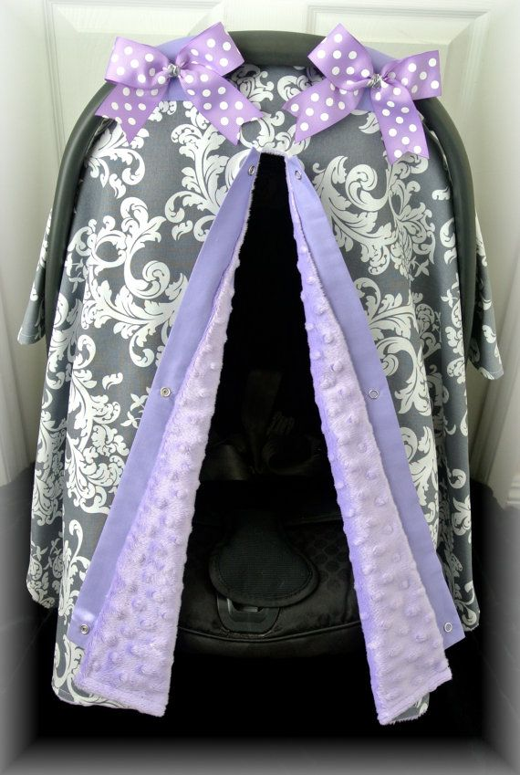 Minky Carseat Canopy Car Seat Cover Grey Lavender