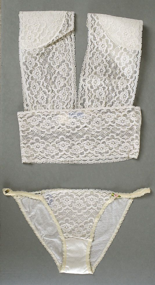 The Metropolitan Museum of Art - Lingerie. Gale Epstein 1980s. Notice the shoulder pads. :: lace :: underpinnings :: bandeau :: bra :: underwear :: sheer ::