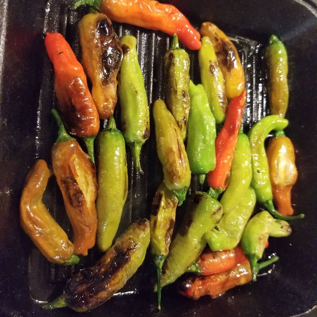 Made this super easy recipe with our shishito peppers. A bit of grapeseed oil, Himalayan pink salt, pepper, and char in a cast iron pan.  So delicious.  Thanks to my friend who suggested it to me. I'm not a huge pepper eater, but this was so good.