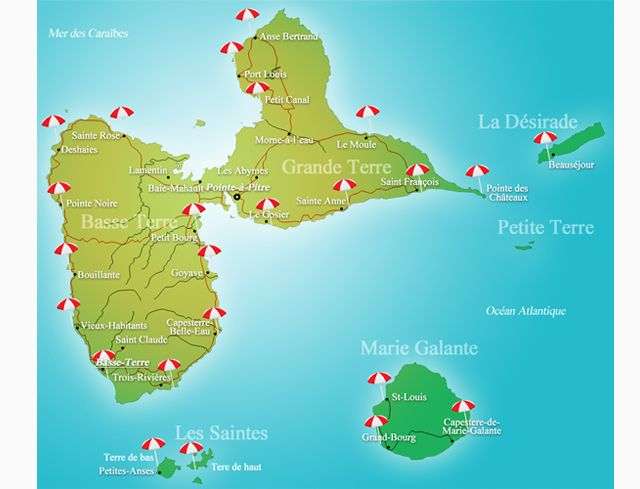carte plage guadeloupe | Guadeloupe | Pinterest