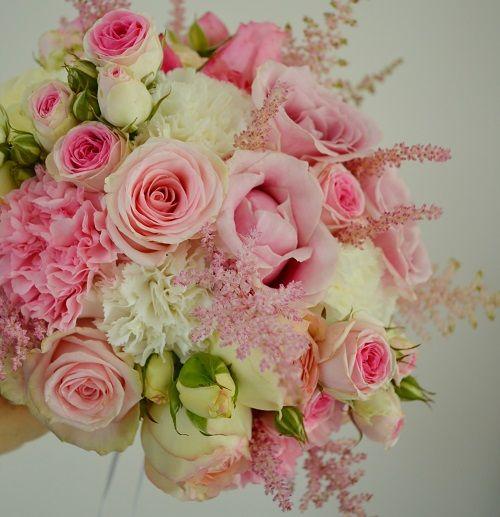Bouquet de mari e rose pastel fleurs rose poudr - Bouquet mariee rose ...