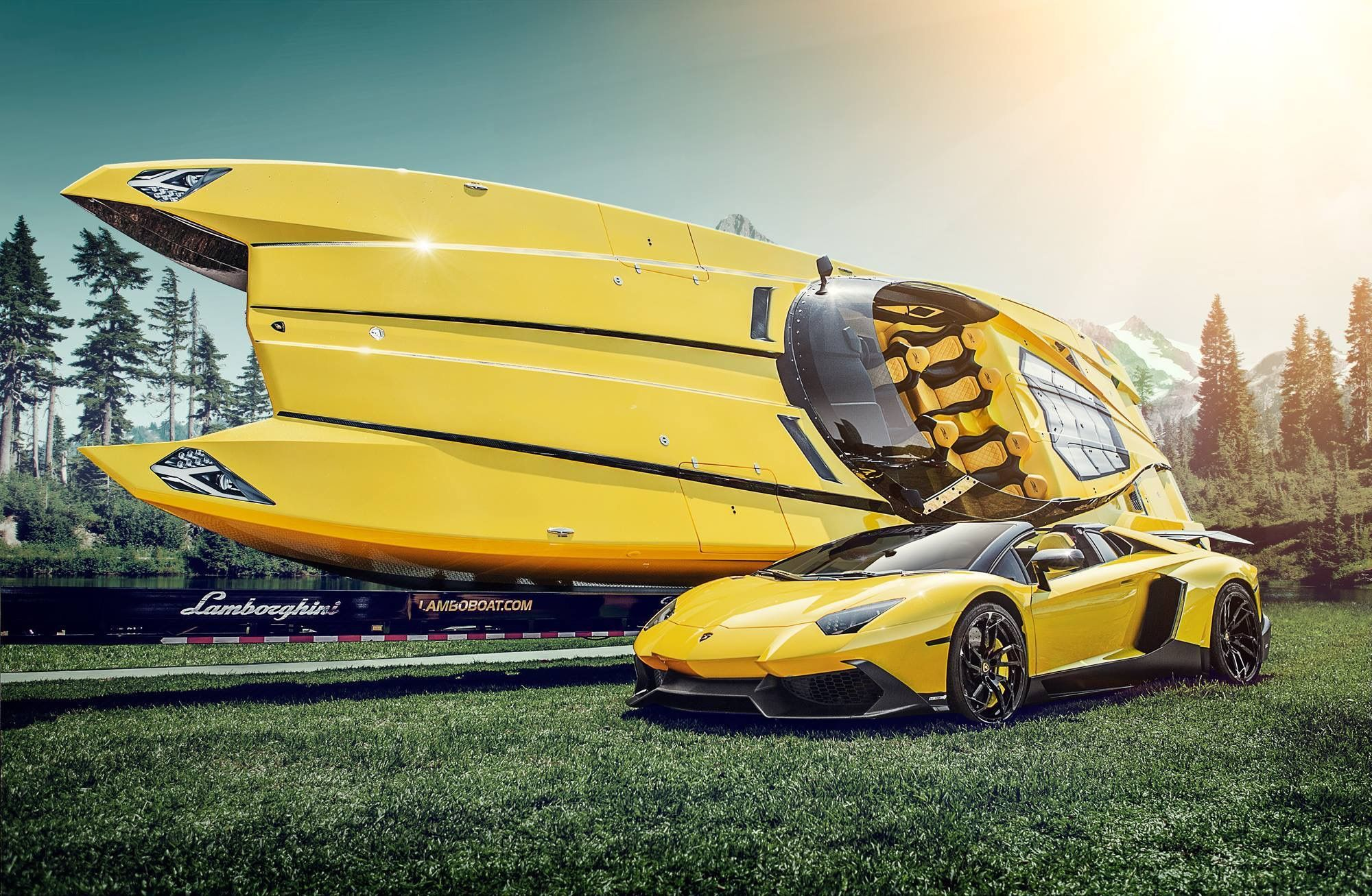 Lamborghini Aventador Roadster And Race Boat It Is A Looker