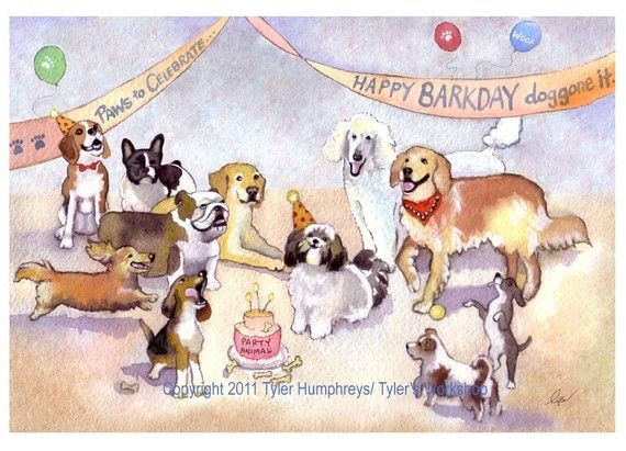 Funny Dog Greeting Card Birthday By Tylersworkshop 375