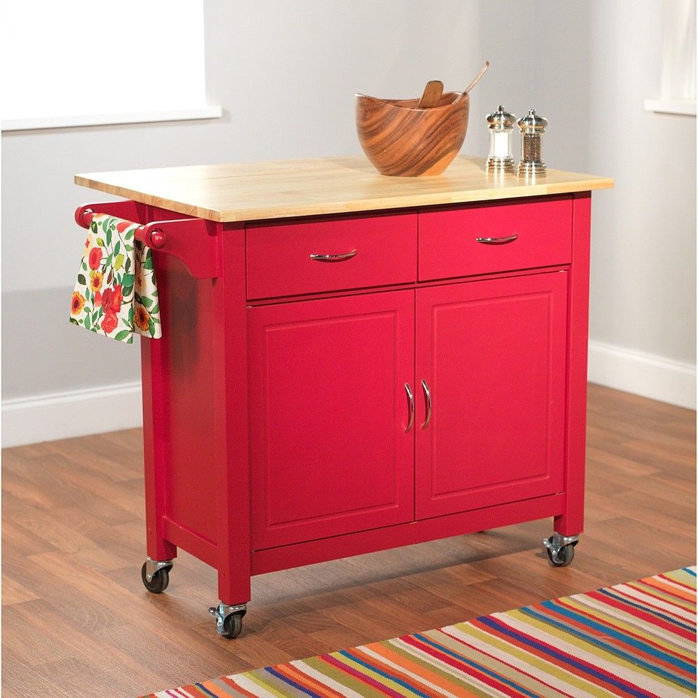 Mobile kitchen island  Red Mobile Kitchen Cart  Overstock Shopping  Great Deals on