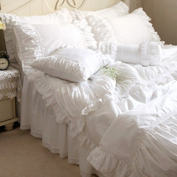 Luxury White Ruffle Bedding White Dengan Gambar Sprei Seprai