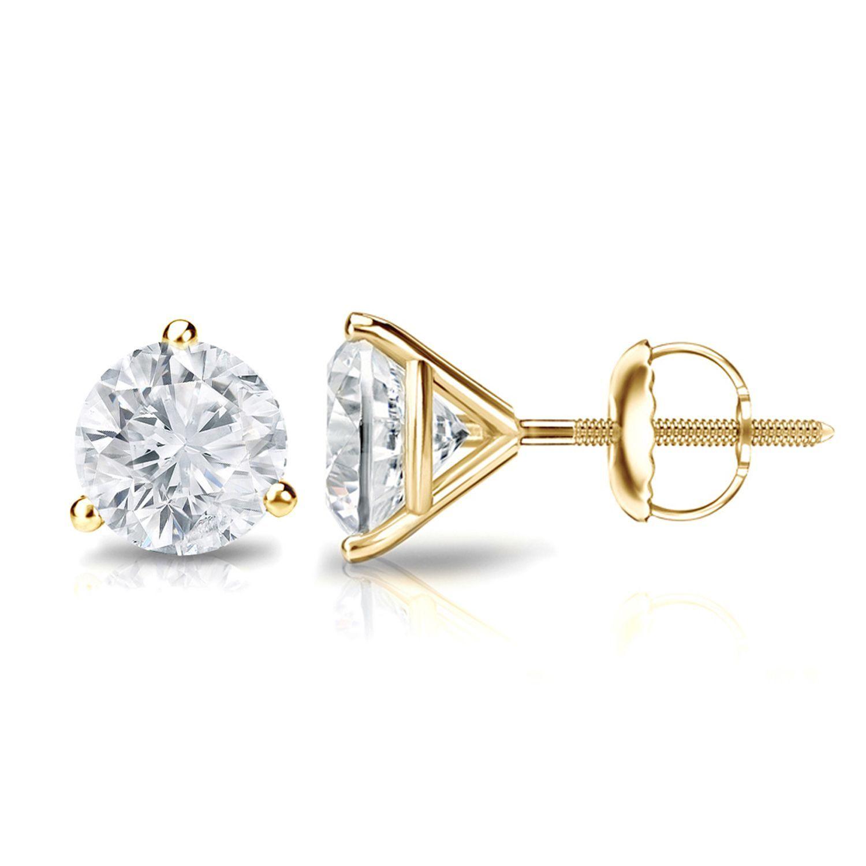 35d1e5b17 Auriya 14k Gold 1/2ct TDW 3-Prong Screw-Back Round Diamond Stud Earrings  (H-I,SI2-SI3) (Yellow Gold), Women's, Size: Small
