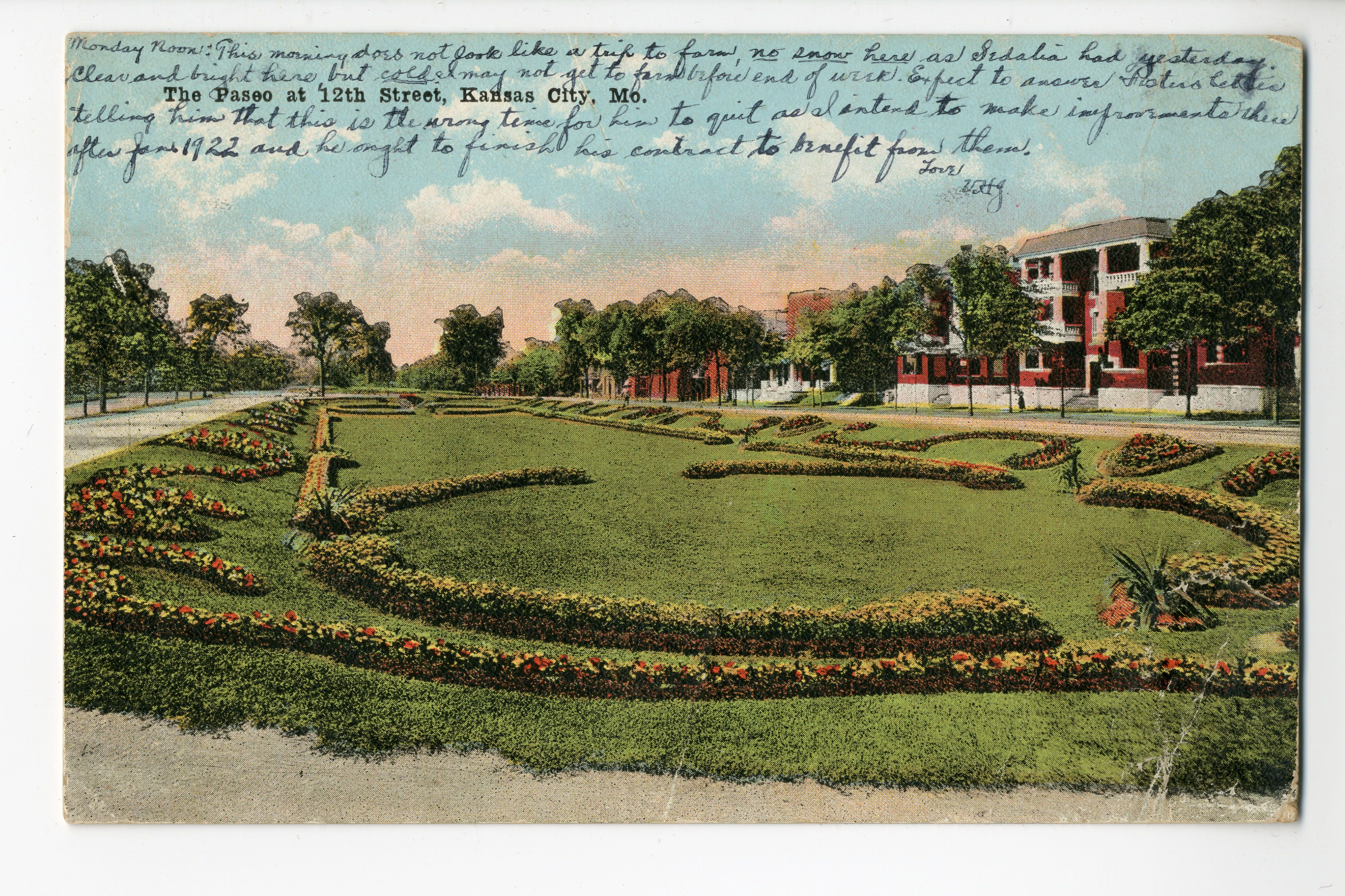 Postcard Showing The Sunken Gardens On The Paseo In Kansas City