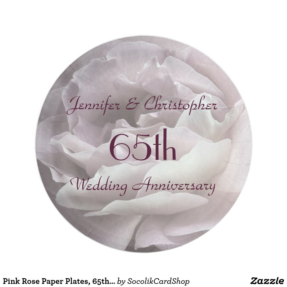 Shop Pink Rose Paper Plates Wedding Anniversary Paper Plate created by SocolikCardShop.  sc 1 st  Pinterest & Pink Rose Paper Plates 65th Wedding Anniversary | Custom Plates ...